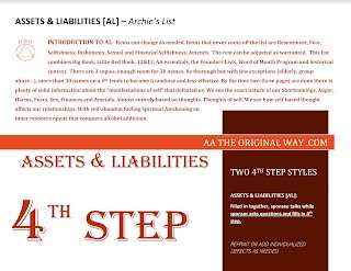 AA 4th & 5th Step Assets and Liabilities List Guide